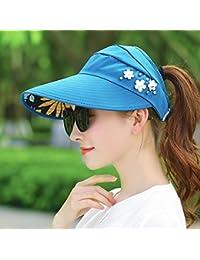 IAIZI 女性の折りたたみ式サン帽子、夏カジュアルサンプロテクションロング帽子の寝袋空のトップハット (色 : 青)
