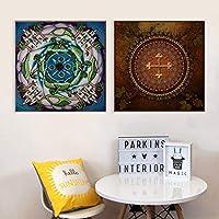 Llxhgボヘミアンスタイル花Man羅キャンバス絵画アートワークポスター壁絵Man羅シリーズ現代絵画家の装飾-40×40センチ×2フレームなし