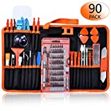 GANGZHIBAO 90pcs Electronics Repair Tool Kit Professional, Precision Screwdriver Set Magnetic for Fix Open Pry Cell Phone, Apple iPhone, Computer, PC, Laptop, Tablet, iPad, Mac book with Portable Bag