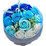 ソープフラワー ローズブーケ 花束 ギフトバッグ付き FPP-809 (ブルー)