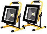 充電式LED投光器+三脚スタンド■ポーペ(POOPEE) 10W充電式LED投光器+三脚スタンド バッテリー内蔵式ポータブル投光器 6000K 広角 昼白色 角度調整可 防水加工 フラッドライト 1灯・2灯対応でき 伸縮可能 (50W 2個セット)
