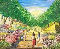 フランス輸入絵画 油絵 レティリー「パリの花市場」インテリア リビング ヨーロッパ風景
