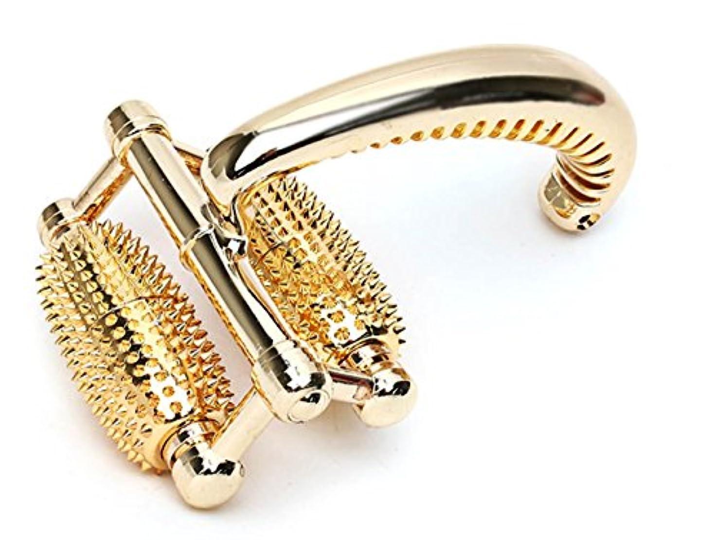 補充開業医刺しますSungjinABLE 金針ローラー 全身マッサージ器 ローラ 経穴点 指圧マッサージ機 手のひら 足 肩 首 アンマ機 海外直送品 (Gold Full Body Roller Massager Acupressure...