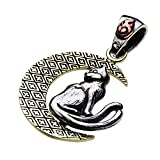 【cenote】和柄 猫又 三日月ペンダント【シルバーアクセサリー】p0559