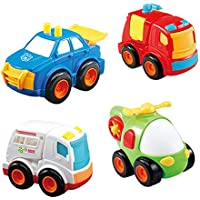novobey Friction Powered Car Toys Push and Go Cars慣性おもちゃ4pcs Cartoon Mini Fireエンジン、警察、自動車、ヘリコプターRescue Vehicles Toys Gift for Kids