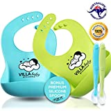 [Aussie Owned] Silicone Baby Bibs with Bonus Silicone Food Spoons - 100% Waterproof, Mould Resistant & Dishwasher Safe. Industry-leading Premium Food-grade Silicone Material That Is BPA-free & No Harmful Material. Keeps Stains Off, Making Cleaning A Breeze. Set of 4 with 2 Baby Bibs in Two Distinctive colours (Lime Green/Turquoise) and 2 Matching Silicone Food Spoons. 100% Satisfaction Guarantee & Aussie-owned Business.