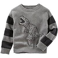 OshKosh Boy 's恐竜テーマSki Lodgeセーター;グレーwithストライプ袖