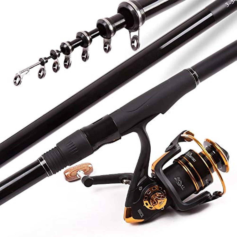 さておき爆弾散髪BTXXYJP 釣り竿 釣りロッド 伸縮可能 コンパクト 釣り フィッシングロッド 初心者 (Color : ブラック, Size : 4.5)