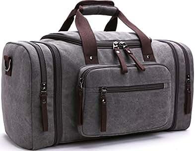 Aidonger キャンパス 旅行バッグ 3 way ボストンバッグ  二泊三日程度 (グレー)