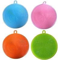 レンコス(Lemcos)食器洗いブラシ キッチンツール 抗菌性 耐熱 皿洗い用ブラシ シリカゲル製 多機能キッチンブラシ (4セット)