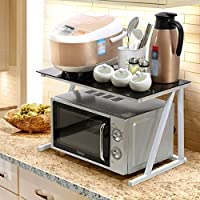 ZWL 電子レンジオーブン、多機能ファッション現代保存スペース炊飯器シェルフ調味料収納ラック強化ガラスアイアンアートレイヤー60 * 37 * 37cm 、キッチン用ヘルパー ( 色 : White frame , 三 : #1 )