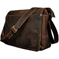 "Le'aokuu Mens Cowhide Leather Briefcase Sling Messenger Shoulder 14"" Laptop Case Bags Cross Body"