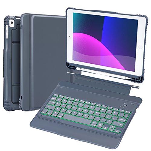 GreenLaw ipad キーボード iPad 9.7 ワイヤレスキーボード ケース付き 耐衝撃 タッチペン収納可能 分離式 取り外す可能 TPU+PU スタンド機能 ipad 第6世代 9.7 キーボード 2018 ケース カバー ケース付きiPad Air,iPad Air 2,iPad Pro 9.7,2017/2018 New iPad 9.7に対応 【日本語説明書 付き】ブラック1 (ブルーグレー)