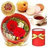 母の日ギフト 2段重ね プリザーブドフラワー 花とスイーツセット (赤)