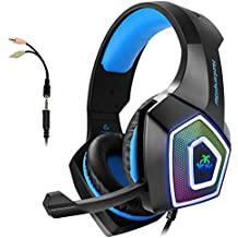 Gaming Headset with Mic for Xbox One PS4 PC Switch Tablet Smartphone, Headphones Stereo Over Ear Bass 3.5mm Microphone Noise Canceling 7 LED Light Soft Memory Earmuffs(Free Adapter) (Renewed)