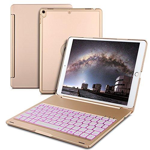 IVSO IPAD PRO 10.5 キーボード 7色バックライト式 APPLE iPad Pro 10.5 キーボード ケース 手帳式 スタンド機能 オートスリープ機能付き ipad 一体型 Bluetooth ワイヤレスキーボード カバー ipad pro 10.5 アルミ合金製キーボードケース ゴールド