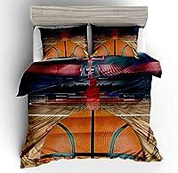 3ピース布団カバーセット、3Dバスケットボールの印刷をテーマにした、快適な、柔らかい寝具セット大人と十代の若者たちの簡単なケア,EUSingle135*200cm/50*75cm*2