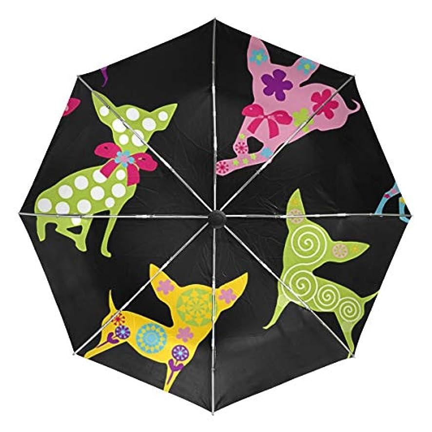 ひらめき影響する柔らかさ傘 自動傘 丈夫 台風対策 雨傘 日傘 チワワ犬 動物 三つ折り傘 日よけ傘 日焼け止め 折りたたみ傘 UVカット 紫外線カット 自動開閉 晴雨兼用 梅雨対策