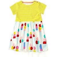 KIDSALON Girls Short Sleeve Summer Cotton Striped Cute Print Casual Dress