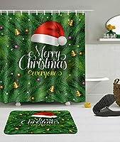 Amxxy メリークリスマスみんなパターンバスルームシャワーカーテンバスマットセットフランネル素材と防水生地バスルームシャワールーム用12プラスチックフックを含む滑り止めバスルームマット