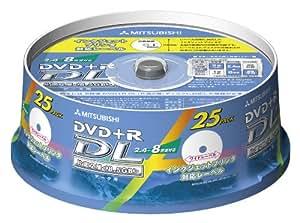 三菱化学メディア DVD+R 8.5GB PC用規格準拠8倍速記録対応25枚スピンドルケース入IJプリンタ対応 DTR85HP25S