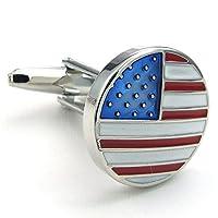 [テメゴ ジュエリー]TEMEGO Jewelry メンズ2個ロジウムメッキポリッシュヴィンテージアメリカ国旗ウェディングカフスシャツカフス、赤青 [インポート]