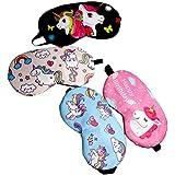 子供のためのBeaupretty 4PCSユニコーン睡眠マスクカバー軽量目隠しソフトアイマスク(ブラック+ローズレッド+ライトピンク+ライトブルー)