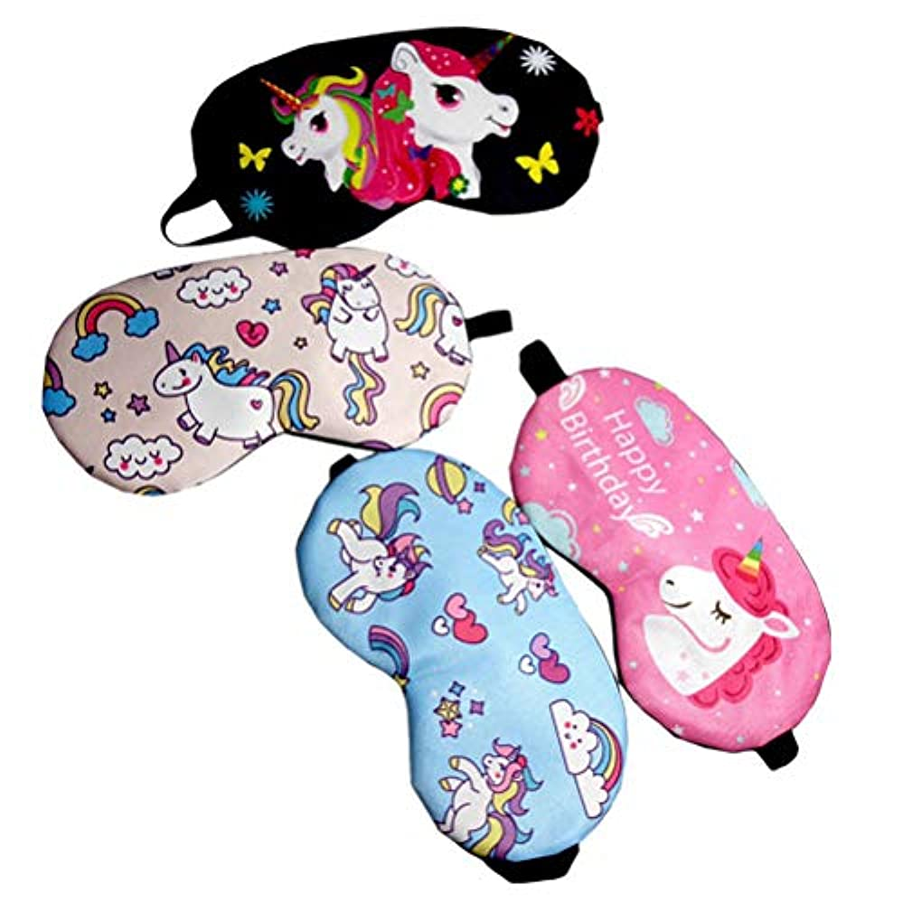 キャリアアンビエント梨子供のためのBeaupretty 4PCSユニコーン睡眠マスクカバー軽量目隠しソフトアイマスク(ブラック+ローズレッド+ライトピンク+ライトブルー)