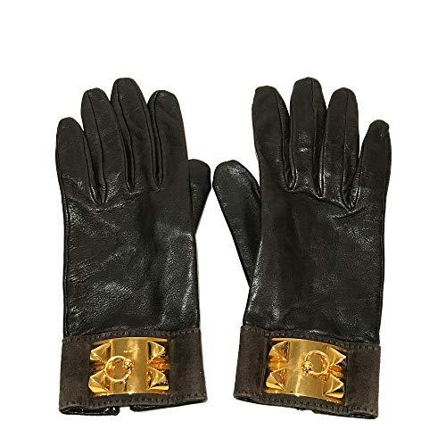 (エルメス)HERMES コリエドシアン メドール レザーグローブ 手袋 グローブ ラムスキン/スエード レディース 中古