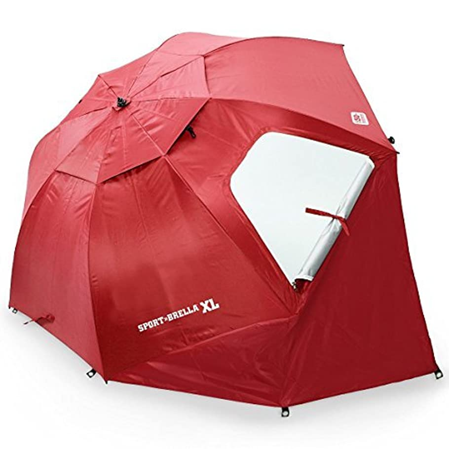 障害タンク床Sport-Brella XL Vented SPF 50+ Sun and Rain Canopy Umbrella for Beach and Sports Events (9-Foot, Deep Red) [並行輸入品]