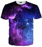 (ピゾフ)Pizoff メンズ 半袖 紫 ギャラクシー 星空 3D プリント お揃い TシャツC7058-07-S