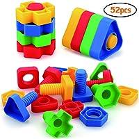 AIBELY ジャンボナットとボルトのおもちゃ 幼児 幼稚園児 STEM教育 モンテッソーリ 建設 ネジ式 お揃いのアクティビティ 3,4,5歳の男の子と女の子用