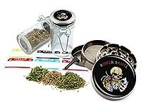 Poker Skull–2.5インチ亜鉛合金グラインダー& 75mlロックトップガラスJarギフトセット# zcc-111616–240