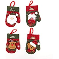 TINYPONY プレゼント袋 食器収納袋 食器カバー かけお付き クリスマス 装飾 飾り ナイフ フォーク キャンディ 小型 可愛い 雪だるま サンタクロース 四不像 熊 4枚セット
