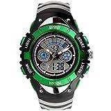 腕時計 防水 デジタル表示 多機能 子供用 付き スポーツウォッチ アウトドア ミリタリー ファッション (緑)