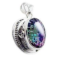 jewelryonclick PureミスティッククォーツスターリングシルバーベゼルヴィンテージLook楕円形ペンダントソリッドHealingハンドメイド
