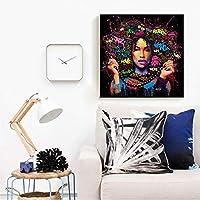 カラフル レディー キャンバス プリント ウォールアート クロード・モネ 有名な油絵 セクシー ガール 複製 モダン クラッシック 風景 アートワーク キャンバス ホームオフィスデコレーション用 20x20Inch(50x50CM) BOOB1367