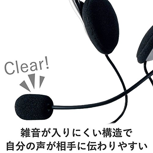 『エレコム ヘッドセット マイク USB 両耳 オーバーヘッド 1.8m シルバー HS-FBE01USV』の4枚目の画像