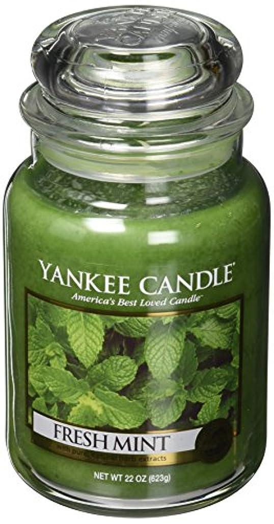 チラチラする小数定常Yankee Candleフレッシュミント Large Jar Candle グリーン 1081855Z