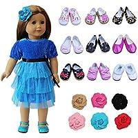 ZITA ELEMENT アメリカガール ドール用アクセサリー  ランダム6点セット=1枚頭飾り+ 5足ドール用靴 1/4サイズ(約46cm)人形適用