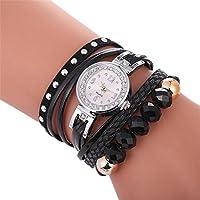 Swyssレディースマルチレイヤレザービーズダイヤモンドブレスレットファッショントレンド腕時計シック個性カジュアル腕時計 M LL10