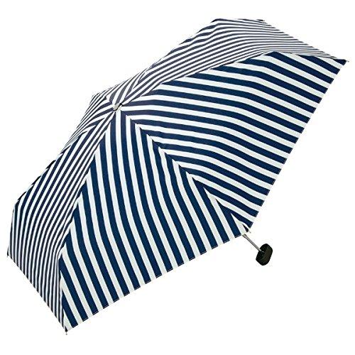WPC リボンチャームストライプ折りたたみ傘【ネイビー/**】