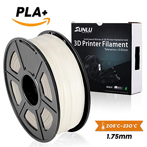 SUNLU 3DプリンタフィラメントPLA Plus、1.75mm PLAフィラメント、3Dフィラメント低臭気、寸法精度+/- 0.02mm、3Dプリンタおよび3Dペン用LBS(1KG)スプール3Dフィラメント、アイボリーホワイトPLA +