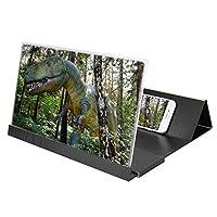 スマホスクリーンアンプ 14インチ HD 木製 携帯電話スクリーン拡大鏡 折りたたみ 2〜3倍ズーム 高精細画面 電源不要 省エネ 環境保護 スマートテレホンスタンド(ブラック)