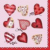 ヌーボー ペーパーナプキン 「Love Red」 M74081 10枚入 33x33cm 3枚重ね