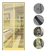 ジャカード 磁気スクリーンドア,フルフレームシールマジックステッカー ドアフライスクリーン 重力スティックでハンズフリーバグを保つ -c 80x210cm(31x83inch)