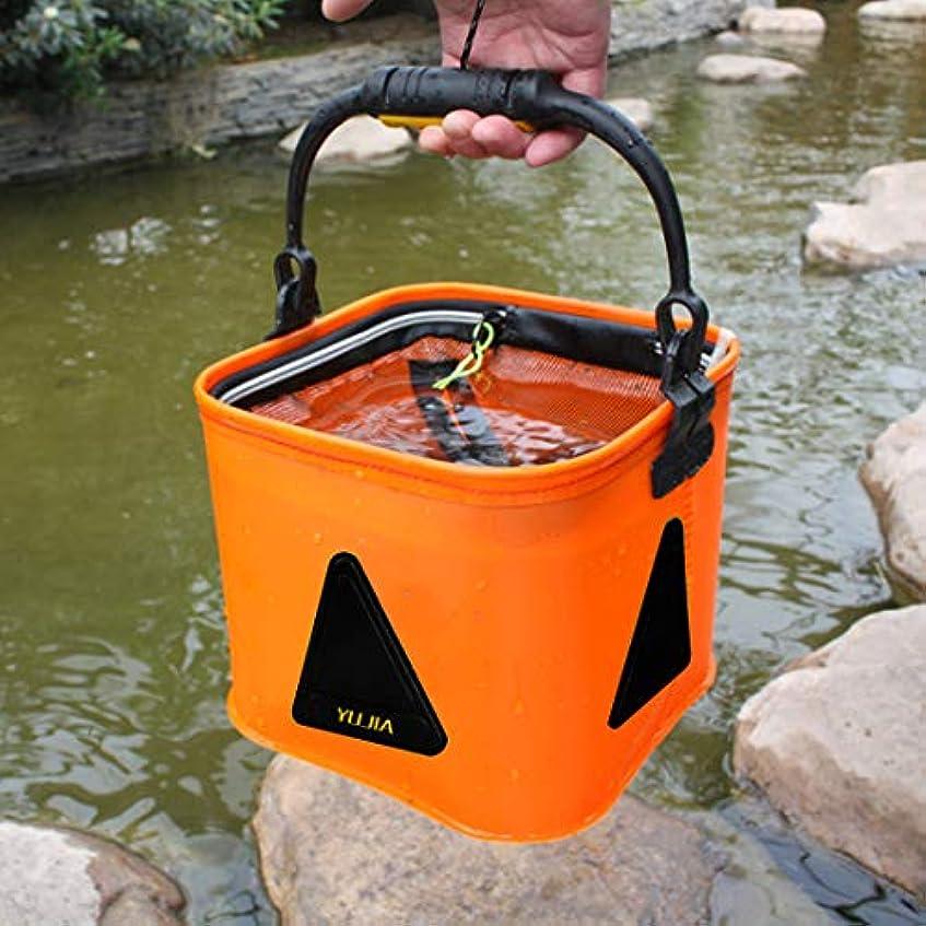 パキスタン人角度ブルゴーニュWTYD アウトドア釣り用品 多機能の厚い生きているバケツロープ、折りたたみ式防水釣りストレージバケツ、サイズ:24 * 24cm、ランダムカラーデリバリー アウトドアに使う