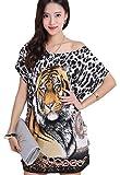 [エムティーエボコン] Tシャツ ロング ロンT ゆったり ミニ ワンピース レディース 虎 豹 柄 黄色 フリー サイズ