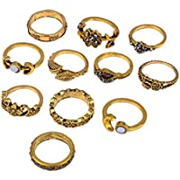 VPbao 11pcs Vintage Ring Set Carved Flower Leaf Alloy Crystal Rings for Women Jewellery