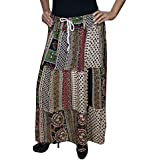 Womens Hippie Skirt Margherita Tiered PATCHWORK Cotton Maxi Skirts Medium/large